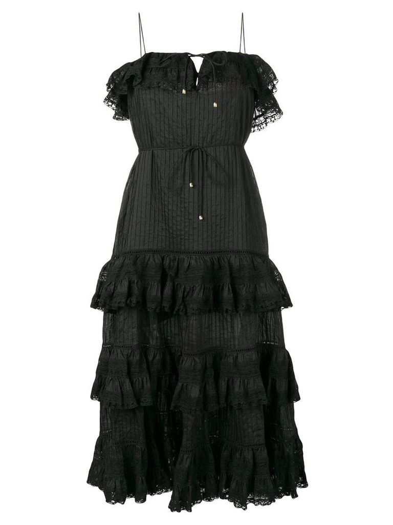 Zimmermann Juniper Pintuck Tie Dress - Black