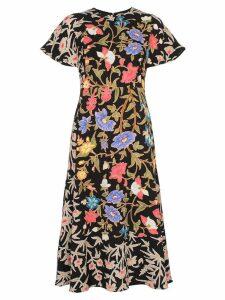 Peter Pilotto Flared floral print short sleeve dress - Black
