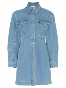 Nanushka Vilma 90s button down denim shirt dress - Blue