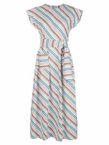 Isa Arfen long striped dress - White