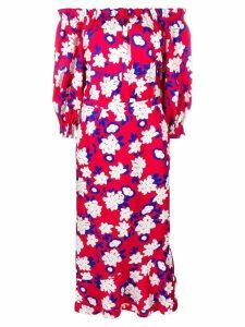 Saloni off-shoulder floral dress - Red