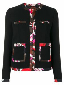 Emilio Pucci contrast-trim tailored blazer - Black