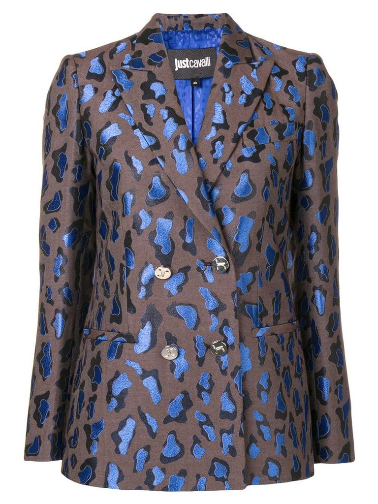 Just Cavalli patterned double-breasted blazer - Brown