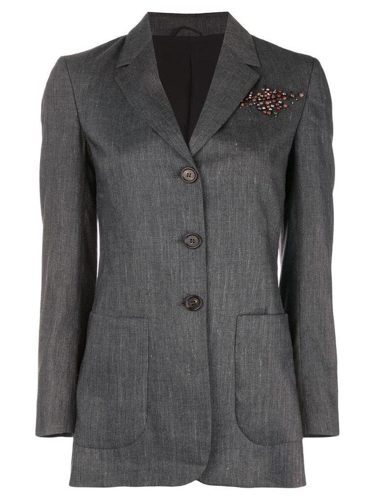 Brunello Cucinelli embellished tailored blazer - Blue