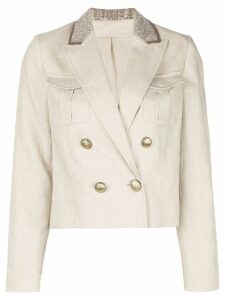 Brunello Cucinelli double breasted cropped blazer - White