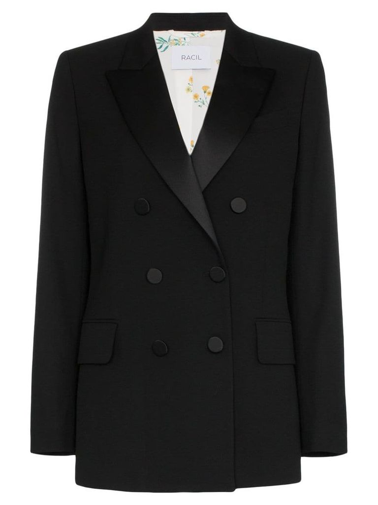 Racil Casablanca collared double-breasted blazer - Black