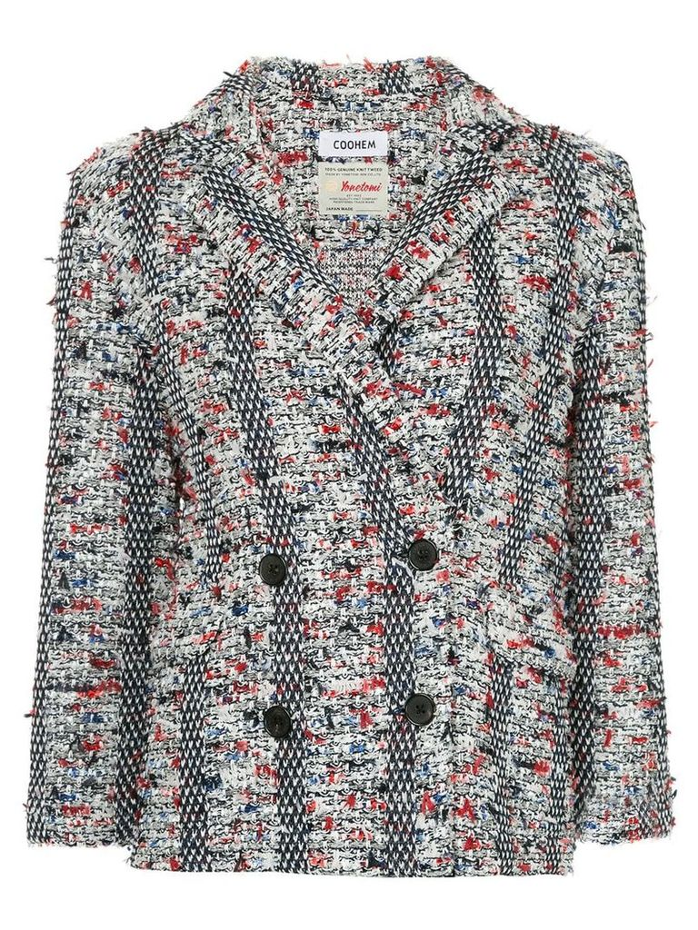 COOHEM double breasted tweed blazer - Multicolour