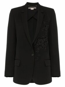 Stella McCartney Tonal flower embellished wool blazer - Black