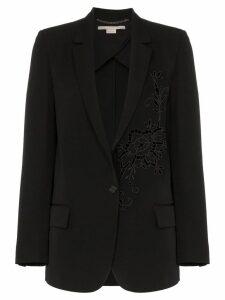 Stella McCartney Tonal flower embellished wool blazer - Black