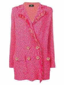 Elisabetta Franchi double breasted frayed blazer - Pink