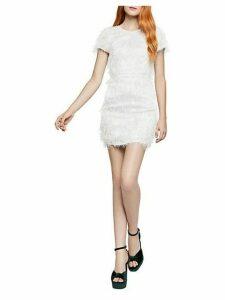 Short-Sleeve Fringed Sheath Dress