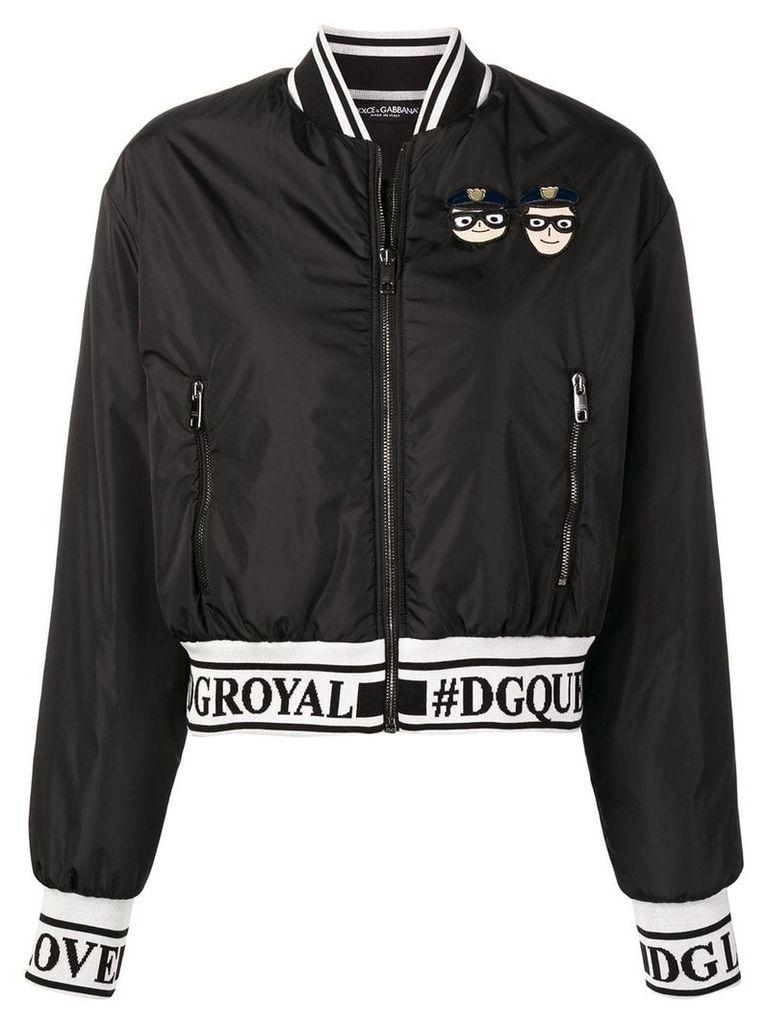 Dolce & Gabbana designer patch bomber jacket - Black