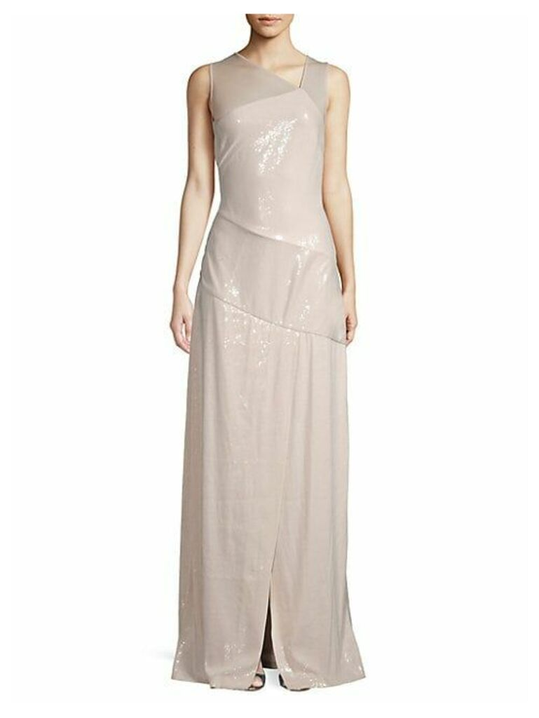 Paneled Sequin Gown