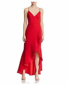 Avery G High/Low Ruffled Crepe Gown