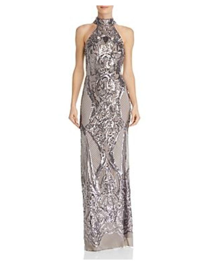 Aqua Sequin Scroll Gown - 100% Exclusive