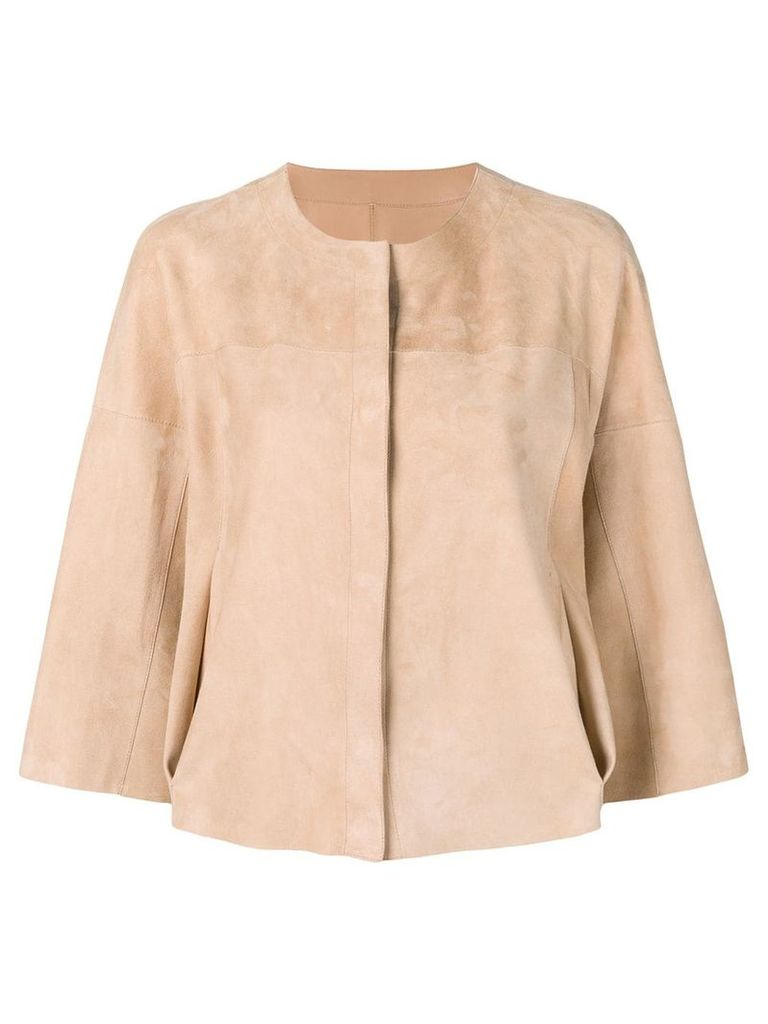 Drome cropped sleeves leather jacket - Neutrals