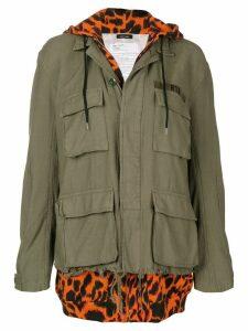 R13 built-in hoodie field jacket - Green