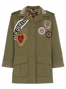 Dolce & Gabbana badge patch collared button down military jacket -