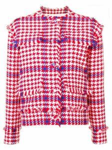 MSGM houndstooth cropped jacket - Red
