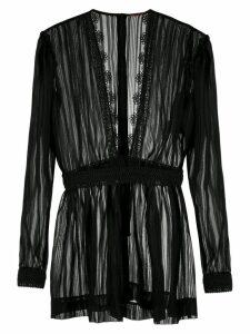 À La Garçonne sheer lace trim blouse - Black
