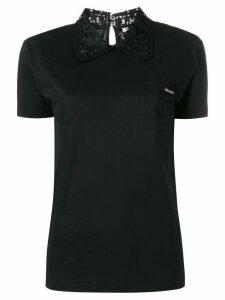 Miu Miu organza-trimmed jersey top - Black