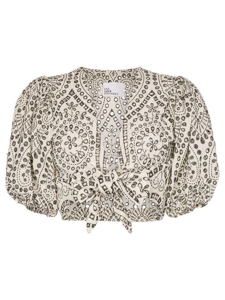 Lisa Marie Fernandez pouf sleeve tie front cropped blouse - White
