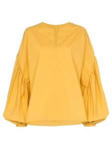 Silvia Tcherassi Alcondera balloon sleeve cotton blouse - Yellow
