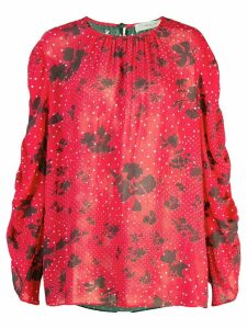 Preen Line mixed-print blouse - Red