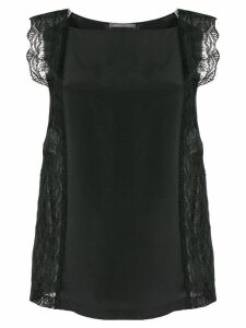 Alberta Ferretti lace-trim sleeveless blouse - Black
