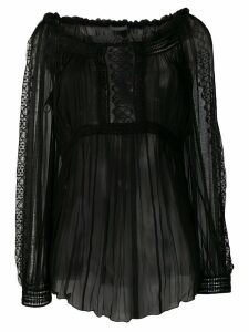 Alberta Ferretti sheer pleated blouse - Black