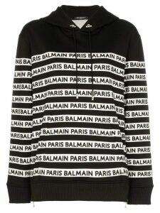 Balmain logo print tape cotton hoodie - Black