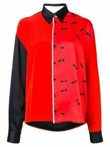Victoria Victoria Beckham colour block long-sleeve shirt - Red