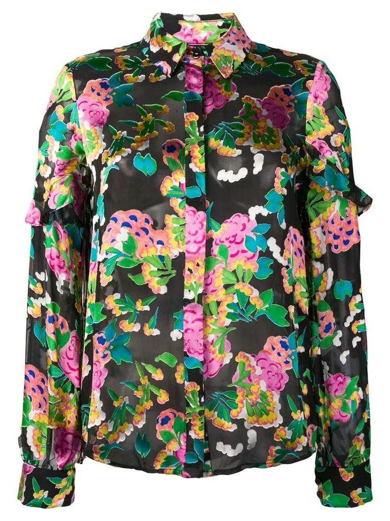 Saloni hydrangea print shirt - Black