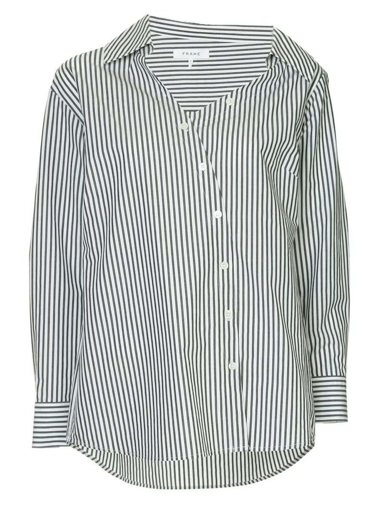 FRAME off-centre button shirt - White