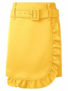 Prada belted frill trim wrap skirt - Yellow