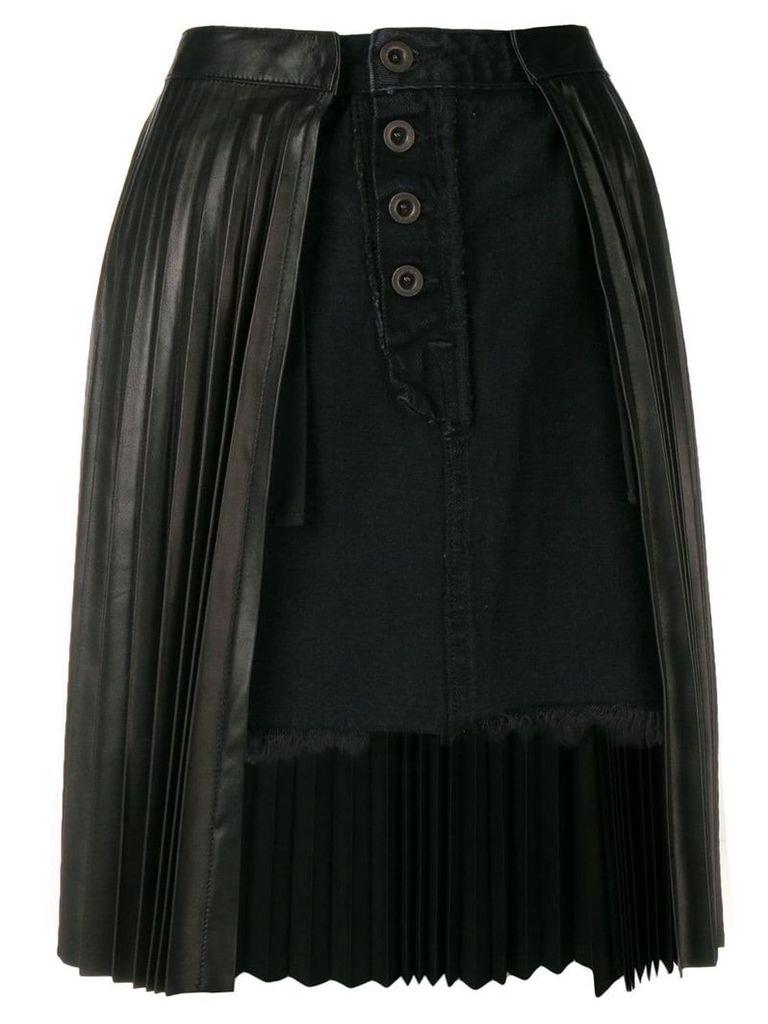 Unravel Project pleated denim skirt - Black
