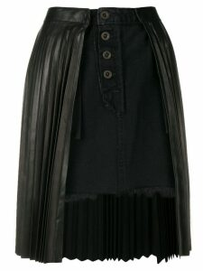 Unravel Project pleated denim skirt - Black