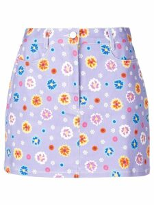 Lhd floral print a-line skirt - Purple