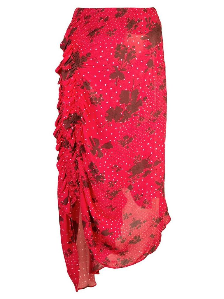 Preen Line mixed-print midi skirt - Red