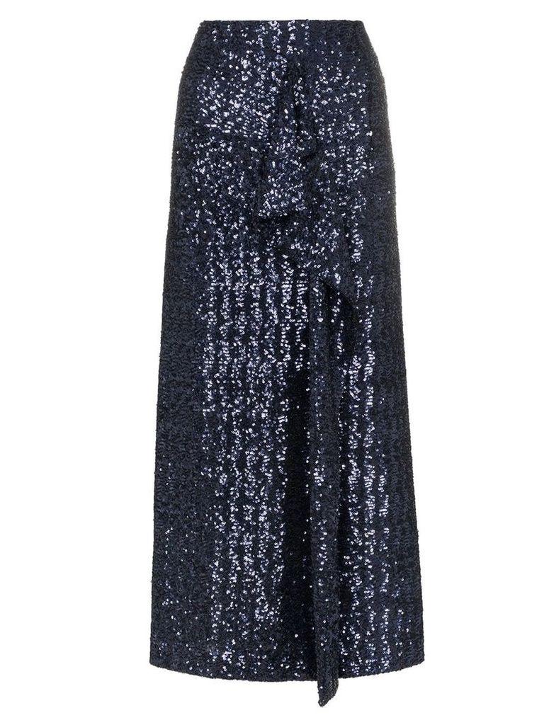 Roland Mouret low sequin embellished asymmetric skirt - Blue