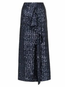 Roland Mouret low sequin embellished asymmetric skirt - Blue