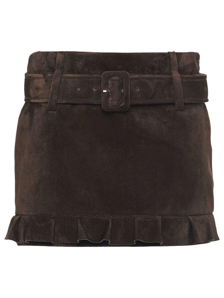Prada belted suede skirt - Brown