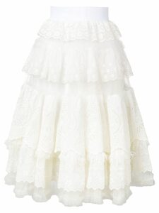 Dolce & Gabbana lace frill flared skirt - White