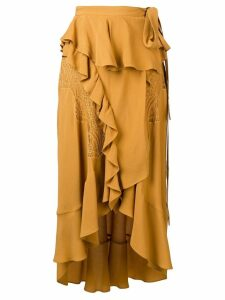 IRO ruffle flared midi skirt - Yellow