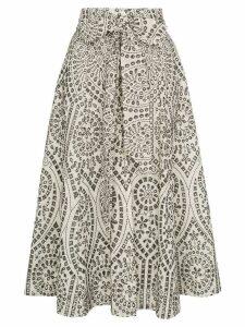 Lisa Marie Fernandez eyelet full waist tie midi skirt - Neutrals