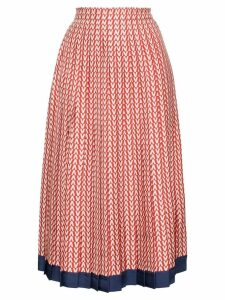 Valentino Garavani V print pleated silk midi skirt - Red