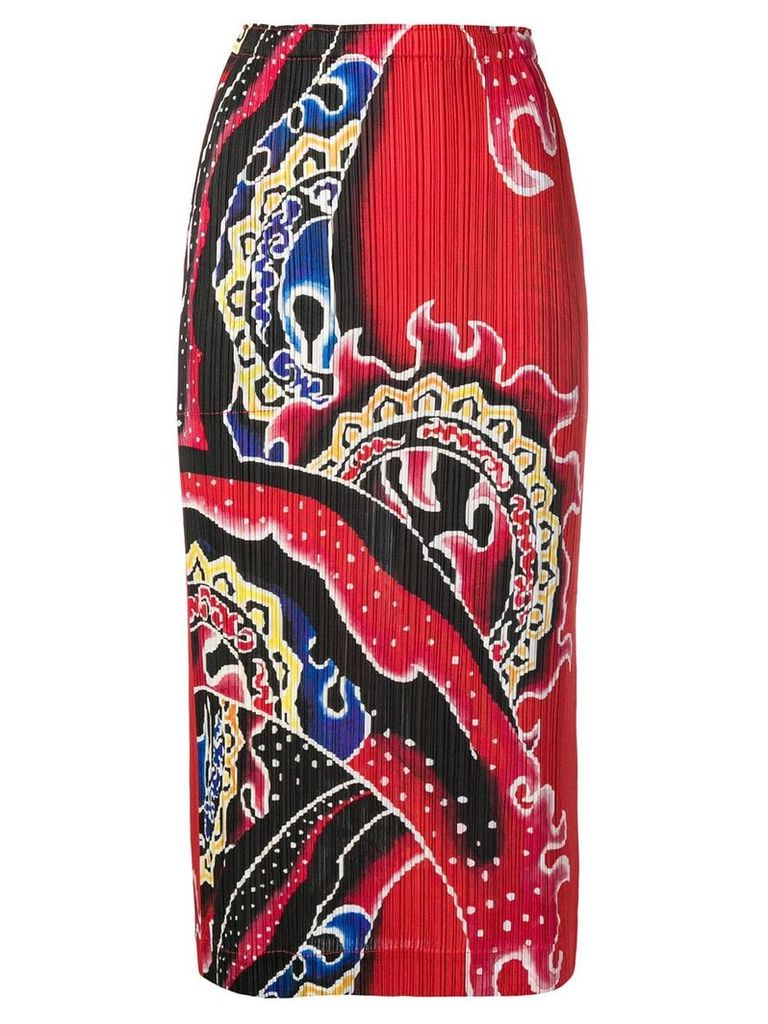 Pleats Please By Issey Miyake printed plissé skirt - Red