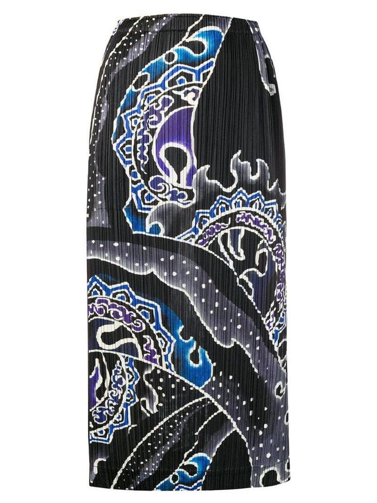 Pleats Please By Issey Miyake printed plissé skirt - Black