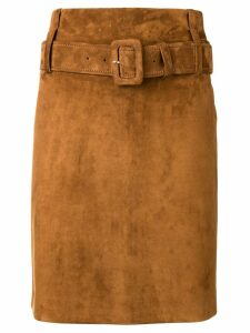 Prada belted high waist skirt - Brown