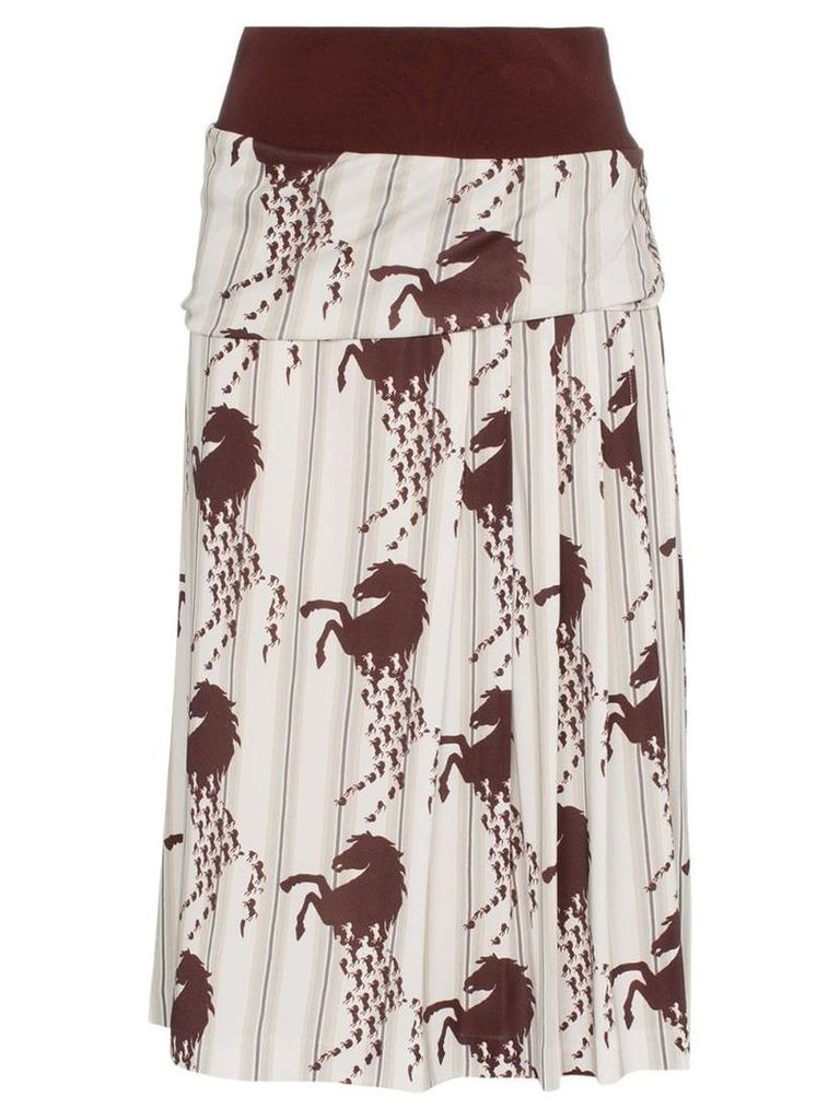 Chloé horse print side pleat midi skirt - White